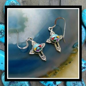 NIB Sterling Silver and Turquoise Cross Earrings